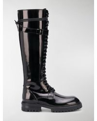 Ann Demeulemeester Knee-high Lace-up Boots - Black