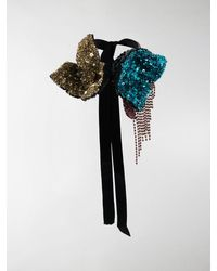 Dries Van Noten Sequin-embellished Bow-tie Necklace - Black