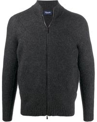 Drumohr Zip-up Wool Cardigan - Grey