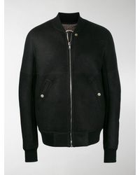 Rick Owens Leather Bomber Jacket - Black