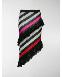 Marco De Vincenzo - Striped Asymmetric Skirt With Ruffles - Lyst