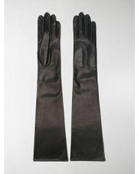 Manokhi Lange Lederhandschuhe - Schwarz