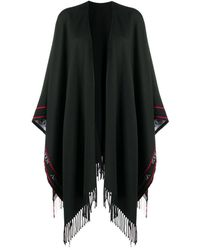 Alexander McQueen Selvedge Fringed Wool Cape - Black