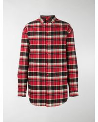 Balenciaga Plaid Flannel Oversized Shirt - Red