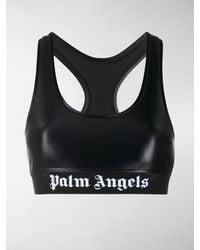 Palm Angels Logo Print Detail Sports Bra - Black