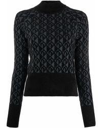Marine Serre Moon Jacquard Roll Neck Sweater - Black