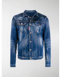 DSquared² Paint Splatter Denim Jacket - Blue