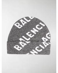 Balenciaga Intarsien-Beanie - Grau