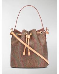 Etro Paisley Print Bucket Bag - Brown