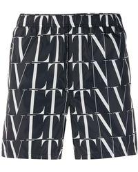 Valentino Badeshorts mit VLTN-Print - Schwarz
