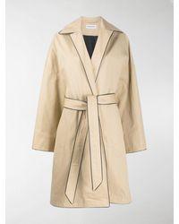 Balenciaga Contrast Trim Trench Coat - Natural