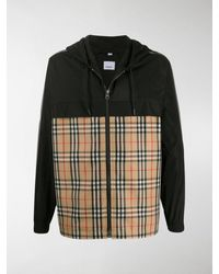 Burberry Hooded Check Jacket - Black