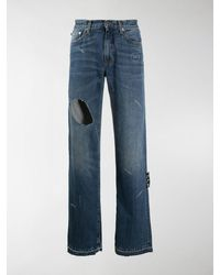 Off-White c/o Virgil Abloh Ripped Detail Jeans - Blue