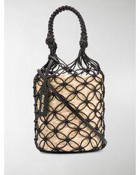 Miu Miu Mesh Straw Bucket Bag - Black