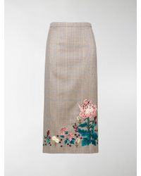 Erdem Embroidered Check Skirt - Multicolour