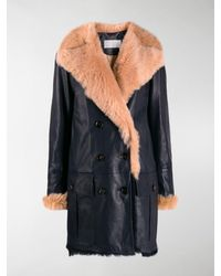 Chloé Fur Lined Double Breasted Coat - Blue