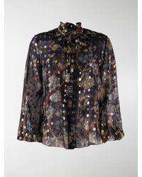 Chloé Floral-print Sheer Blouse - Blue