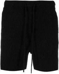 Dries Van Noten Ribbed Knit Shorts - Black