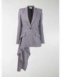 Alexander McQueen Houndstooth Hanging Ruffle Detail Jacket - Black