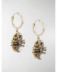 Alexander McQueen Spider hoop earrings - Mettallic