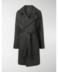 A.P.C. - Belted Sigle Breasted Coat - Lyst
