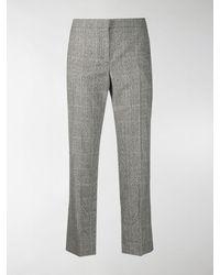 Alexander McQueen Pantaloni crop a quadri - Nero