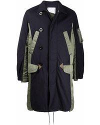 Sacai Two-tone Ruched Coat - Blue