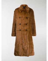 Tom Ford Double-breasted Faux Fur Coat - Brown
