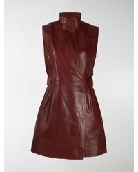 Ganni Long Belted Waistcoat - Red
