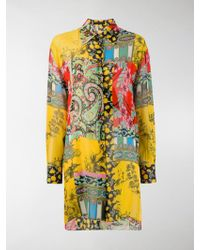 Etro Printed Long Silk Georgette Shirt - Yellow