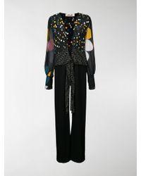 Diane von Furstenberg Eclipse Dot Pattern Jumpsuit - Black