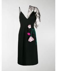 Prada Black Floral Lace Midi Dress