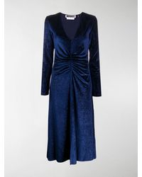 ROTATE BIRGER CHRISTENSEN Number 7 Ruched Midi Dress - Blue