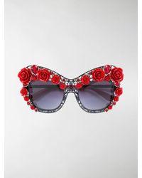 Dolce & Gabbana - Occhiali da sole con applicazioni floreali - Lyst