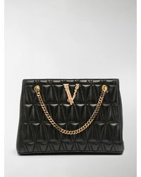 Versace Quilted-effect Logo Tote Bag - Black