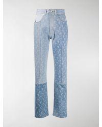 Marine Serre Moon-print Panelled Jeans - Blue