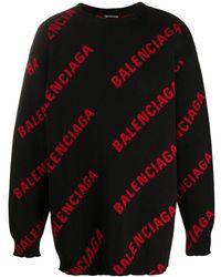 Balenciaga Logo Intarsia Sweater - Black
