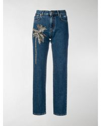 MSGM Palm Tree-embellished Jeans - Blue