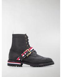 Thom Browne Stripe Wing Tip Boots - Black