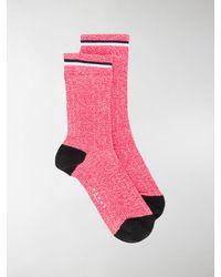 Marni Logo Ribbed Ankle Socks - Red