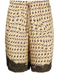 Dries Van Noten Mix Print Drawstring Shorts - Yellow