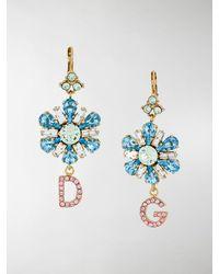 Dolce & Gabbana Charm Detail Drop Earrings - Blue