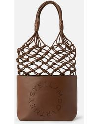 Stella McCartney Shopper mit perforiertem Logo - Braun