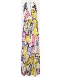 Stella McCartney Robe avec imprimé chevaux - Jaune
