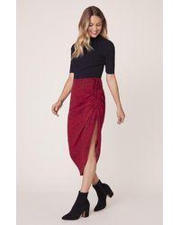 BB Dakota Ruched Awakening Midi Skirt - Red