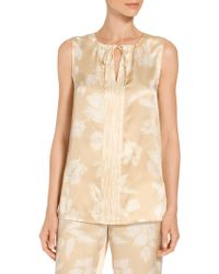 St. John - Painted Floral Hammered Satin Silk A-line Shell - Lyst