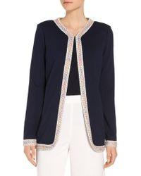 St. John - Milano Knit Jewel Neck Jacket - Lyst