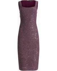 St. John Sequin Knit Sheath Dress - Purple