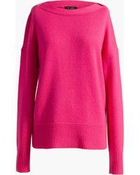 St. John Cashmere Drop Shoulder Sweater - Pink