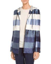 St. John - Viscose Block Stripe Twill Jacket - Lyst